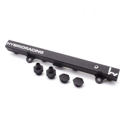 Hybrid Racing Black Fuel Rail with 2 -6/-8 fittings, 1 -8plug and, 3 Orings.